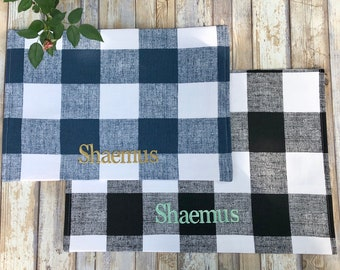 Dog Food Mat, Cat Food Mat, Farmhouse Plaid Dog Placemat for Food and Water, Personalized Pet Food Mat, Dog Mats for Food