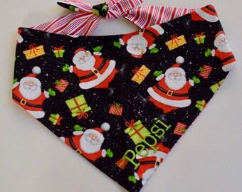 Christmas Santa Dog Bandana | Personalized Reversible Neckerchief | Holiday Pet Scarf | Puppy Dog Gift
