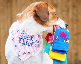 Personalized Sock Thief Dog Bandana - Reversible Classic Tie Pet Scarf - Puppy Gift by Three Spoiled Dogs