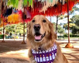 Halloween Dog Bandana, Ghosts Eek Boo Beware on Purple