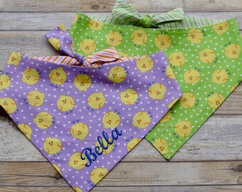 Personalized Spring Dog Bandana | Easter Chicks on Pet Bandana | Easter Pet Scarf with Name | Personalized Puppy Gift by Three Spoiled Dogs