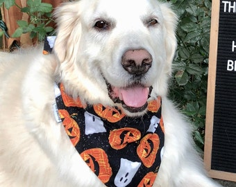 Personalized Halloween Dog Bandana || Ghost and Pumpkin Pet Bandana Personalized Classic Tie Bandanas Limited Quantity