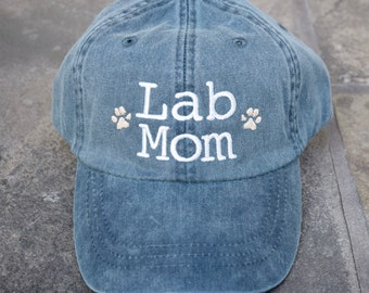 Lab Mom, Dog Mom, Baseball Cap with Rescue Mom, Breed Mom Hat,  Embroidered with Paw Prints, Dog Mom Monogram Gift by Three Spoiled Dogs