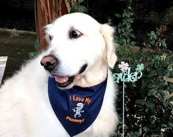 I Love My Mummy Dog Bandana, Custom Pet Bandana with Halloween Themes,  Personalized Classic Glow In The Dark, Limited Quantity