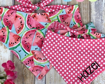 Personalized Dog Bandana, Watermelon Dog Bandana with Name, Size Extra Extra Small to Extra Large, Reversible Classic Tie Bandana