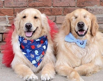 Patriotic Dog Bandana, Personalized Dog Bandana with Patriotic Whales, Size Extra Extra Small to Extra Large, Reversible Pet Scarf