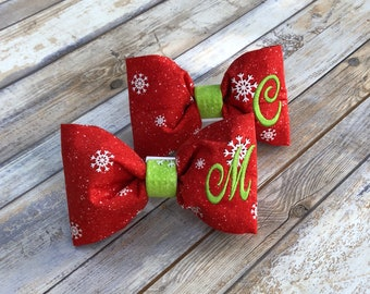 Monogram Dog Bow Tie  with Snowflakes - Personalized Red Pet Bow Tie with Green Initial - Best Custom Dog Lover Gifts by Three Spoiled Dogs