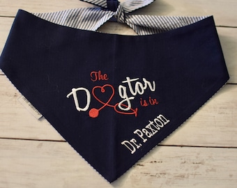 Therapy Dog Bandana, Personalized Dogtor Bandana Pet Scarf, Gift for Your Therapy Dog