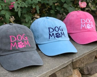 Personalized Dog Mom Hat, Dog Mom Baseball Cap in 24 Colors, Dog Lover Gift, Embroidered Hashtag Dog Mom