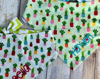 Personalized Dog Bandana, Dog Scarf with Cactus, Classic Tie Dog Bandana, Chevron Pet Bandana, Best Puppy Dog Gifts