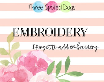 Additional Embroidery - Personalized Pet Bandana  - Reversible Dog Bandana - Monogram by Three Spoiled Dogs