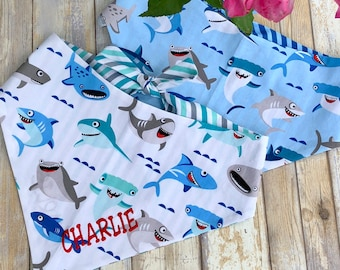 Personalized Shark Bandana, Summer Dog Bandana, Reversible Classic Tie Sharks Neckerchief