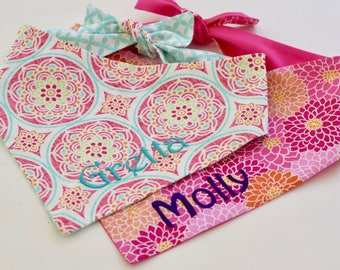 Personalized Dog Bandana || Hot Pink Orange Aqua Lime || Custom Geometric Flower Medallions || Puppy Gift by Three Spoiled Dogs