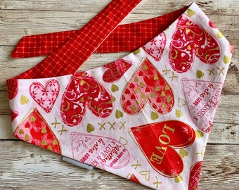 Valentine's Day Dog Bandana, Hearts Personalized Dog Scarf with gold accents - Reversible Classic Tie