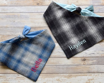 Personalized Flannel Bandana, Custom Dog Bandana, Great Puppy Dog Gift, Perfect if your including you Pup in you Holiday Family photos