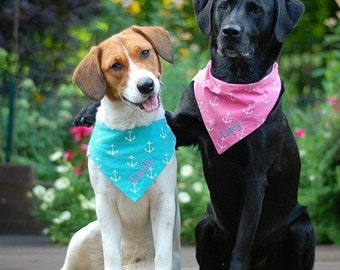 Personalized Anchor Dog Bandana, Navy, Pink, Aqua, Dog Bandana with Anchors, Pink Reversible Pet Bandana, Monogrammed Dog Neckwear, Dog Gift