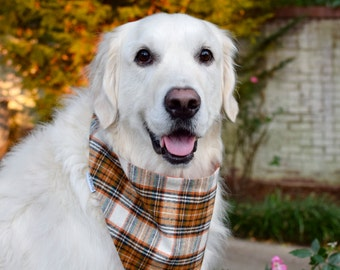 Flannel Plaid Dog Bandana in Orange, Brown, Cream, Black and Gold - We have 20 different Flannel Plaids in stock!
