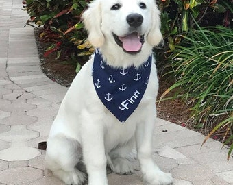 Dog Scarf, Dog Bandana, Personalized Dog Bandana with Anchors, Reversible Bandana, Dog Neck wear, Dog Bandanna, Anchor Dog Scarf