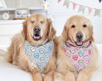 Personalized Dog Bandana | Conversation Hearts | Reversible Pet Scarf with Hearts  | Gift by Three Spoiled Dogs