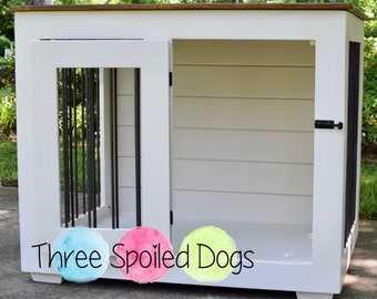 Custom Kennel, Large Wood Single Dog Kennel, Farmhouse Style Dog Crate with Shiplap, Custom Indoor Crate
