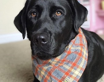 Flannel Plaid Dog Bandana in Gray, Orange, and Yellow!! We have 20 different Flannel Plaids in stock!