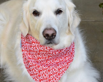 Ho Ho Ho Christmas Dog Bandana || Personalized Reversible Holiday Pet Scarf || CustomPuppy Gift by Three Spoiled Dogs