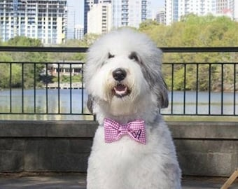 Monogram Pet Bow Tie, Personalized Dog Bow Tie for Weddings, Gingham Girl Bow with Initial, Custom Gift for Pet Owner