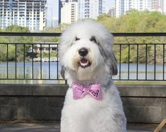 Monogram Pet Bow Tie, Personalized Dog Bow Tie for Weddings, Gingham Cat Bow Tie with Initial, Custom Gift for Pet Lovers
