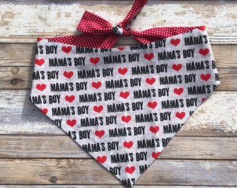 Mama's Boy Valentine's Dog Bandana | Reversible Pet Scarf with Hearts |Tiny Red Hearts on the Back |  Three Spoiled Dogs