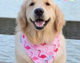 Flamingo Dog Scarf,  Personalized Dog Bandana with Flamingos,  Summer Classic Tie Neckerchief, Size Extra Extra Small to Extra Large