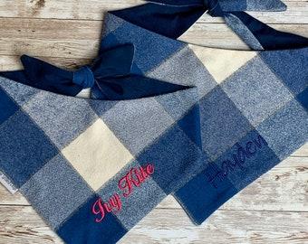 Personalized Plaid Dog Bandana   Shades of Blue Pet Scarf   Flannel Pet Bandana, Dog Gift, Classic Tie, Family Photos, Puppy Dog Gift