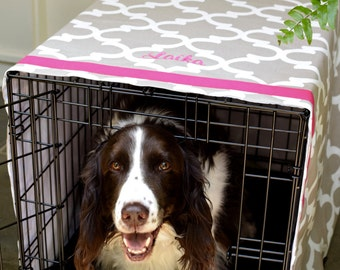 Monogrammed Crate Cover, Quatrefoil Crate Cover, Personalized Pet Name on Moroccan Quatrefoil, Sizes Sm - XXL, Farmhouse Crate Cover