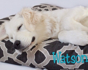 Personalized Dog Bed Pillow Covers, Charcoal Lattice Fabric thats Stain Resistant and Washable, Cat Bed, Dog Name
