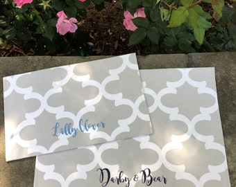 Personalized Dog Food Mat, Quatrefoil Pet Placemat for Food and Water, Personalized Puppy Dog Gift