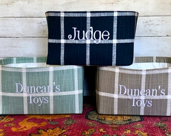 Personalized Toy Basket, Modern Farmhouse Bin with Pets Name, Toy Basket with Monogram, Custom Gift Basket for Treats & Toys