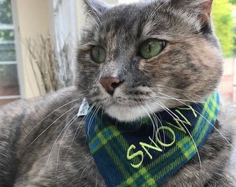Green and Blue Flannel Pet Bandana     Personalized Pet Scarf    Puppy Gift by Three Spoiled Dogs