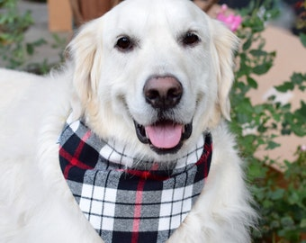 Personalized Flannel Dog Bandana, Monogrammed Pet Bandana, Gift for Pet Owner