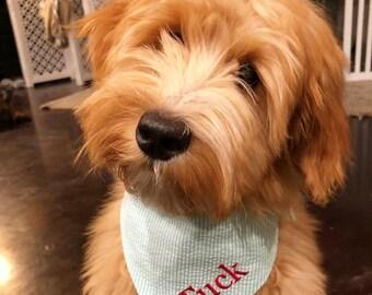 Seersucker Dog Bandana, Monogrammed Cat Bandana, Dog Gift, Personalized Pet Neckwear, Pet Accessories, Classic Tie, Dog Wedding, Puppy Dog