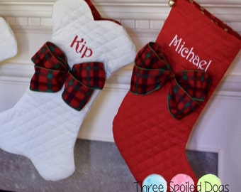 Personalized Dog Bone Christmas Stockings, Dog Bone Stocking, Personalize Pet Stocking, Personalized Stockings in Red Green or Winter White
