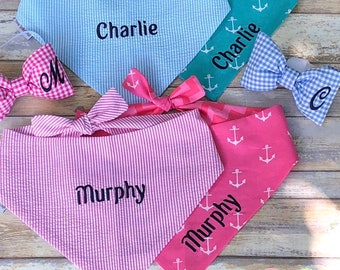 Anchors Dog Scarf, Personalized Dog Bandana with Anchors, Navy, Pink or Aqua Reversible Anchor Dog Scarf