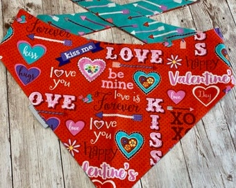 Valentine Dog Bandana, Valentine's Day Personalized Dog Scarf, Live Laugh Love Reversible Custom Puppy Gift by Three Spoiled Dogs