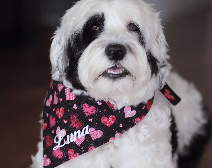 Featured listing image: Personalized Valentine's Dog Bandana | Reversible Pet Scarf with Hearts | Pink and Red Hearts on Black | Pink Back Three Spoiled Dogs