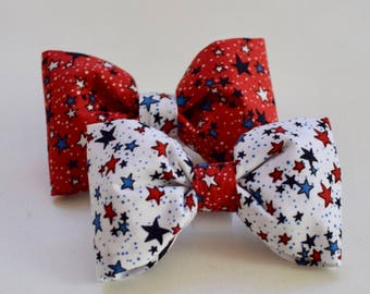 Patriotic Stars Dog Bow Tie  - Monogram  4th of July Bow Tie -  Best Custom Dog Lover Gifts by Three Spoiled Dogs
