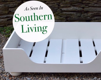 Wooden XLarge Dog Bed || As seen in Southern Living Magazine || Custom Wood Bed Frame || NC made by Three Spoiled Dogs