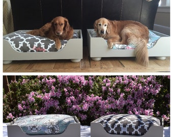 Large Wood Dog Bed | Medium Luxury Raised Pet Bed | As seen in Southern Living Magazine | Personalized Handmade in NC  by Three Spoiled Dogs