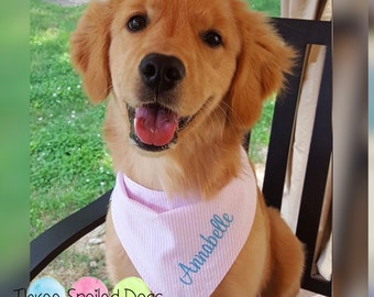 Personalized Dog Bandana - Pink Seersucker Pet Bandanas - Best Monogrammed Custom Puppy Dogs Gifts by Three Spoiled Dogs