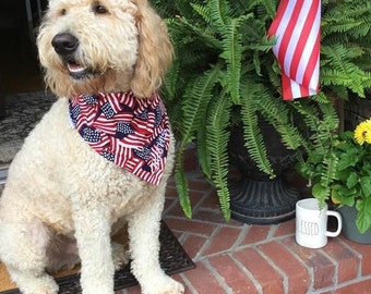 Dog Scarf, Dog Bandana, Personalized Dog Bandana with American Flags, Size Extra Extra Small to Extra Large, Reversible, Pet Accessories
