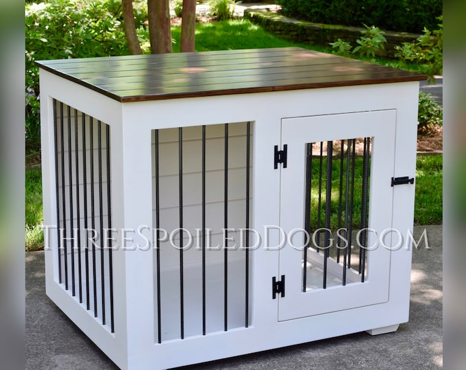 Featured listing image: Custom Kennel - Large Wood Dog Indoor Crate - Wood Furniture - As Seen In Southern Living Magazine   Hand Made in NC by Three Spoiled Dogs