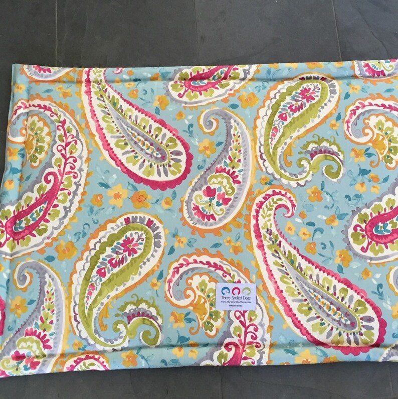 Elephants by Three Spoiled Dogs Travel Dog Bed Personalized Dog Mat Extra Large Paisley Custom Crate Pad
