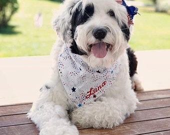 Patriotic Dog Bandana - Reversible Patriotic Dogs Pet Bandana - The Best Custom Bandanas by Three Spoiled Dogs